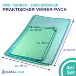 Mikrofaser GLANZTUCH, Fenstertücher (4er Set, zweifarbig, 2 Größen)